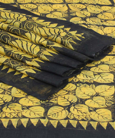 Handloom Yellow Printed Bhagalpur Linen Saree