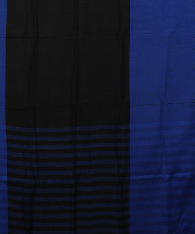 Handloom Black and Blue Bhagalpur Linen Saree