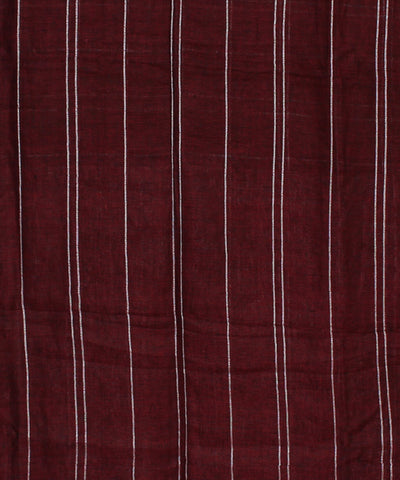 Maroon Checks Handloom Bengal Linen Saree