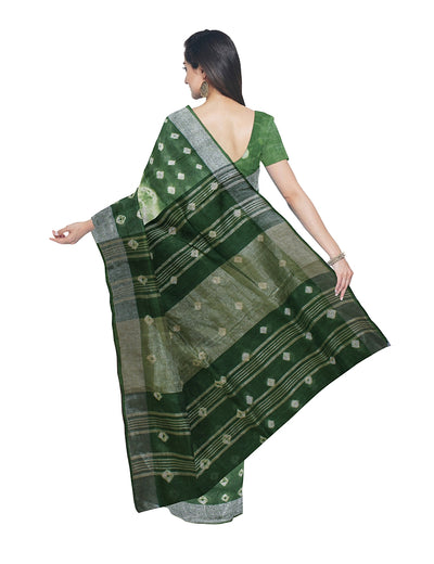 Shibori Hand Printed Dark Green Linen Saree