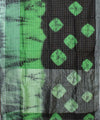 Shibori Hand Printed Black Green Linen Saree