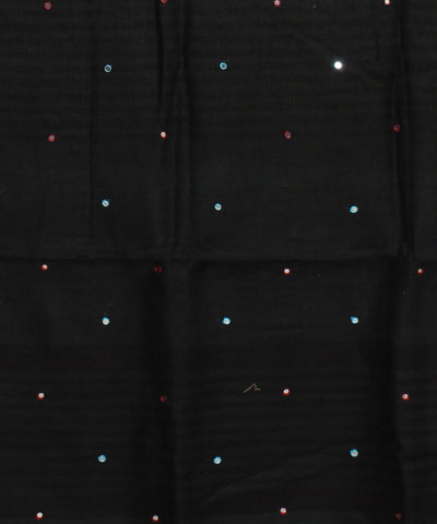 Black Handloom Embroidered Linen Saree