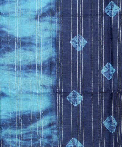Shibori Hand Printed Blue Checks Linen Saree