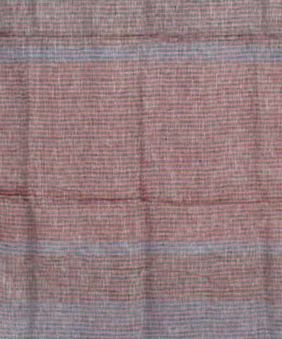 Blue and Red Handwoven Linen Saree