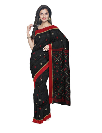 Black and Red Handwoven Bhagalpur Linen Saree