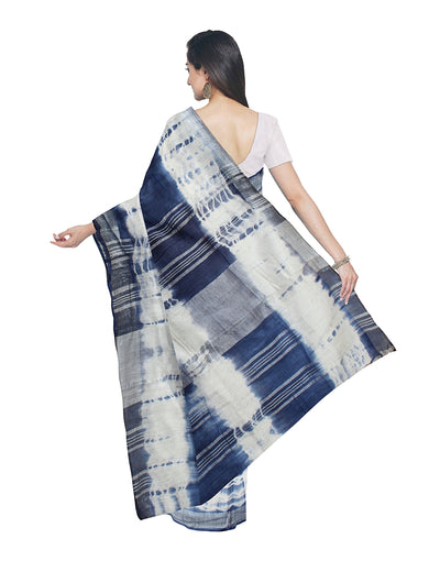 Off White Blue Shibori Printed Linen Saree