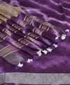 Shibori Purple Printed Linen Saree