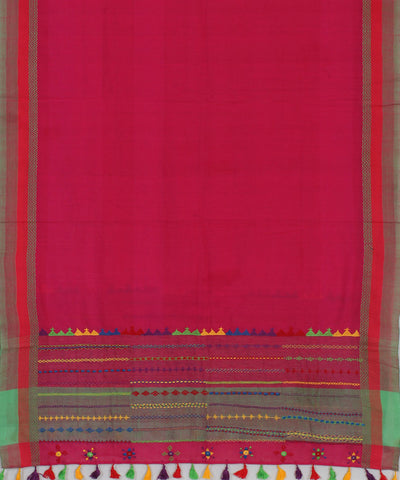 Pink Kanchi Cotton Hand Embroidery Dupatta