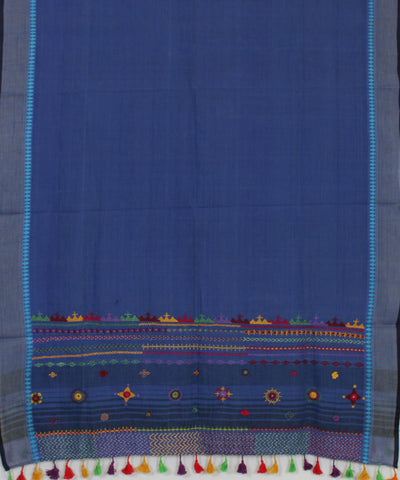 Kanchi Cotton Hand Embroidery Blue Dupatta