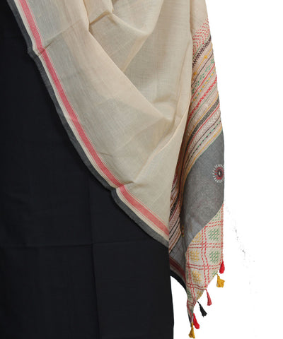 Beige Kanchi Cotton Hand Embroidery Dupatta