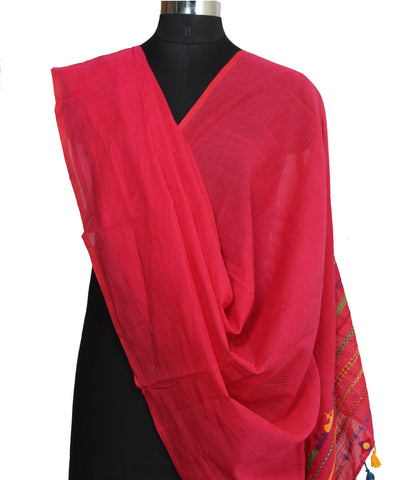 Kanchi Cotton Hand Embroidery Pink Dupatta