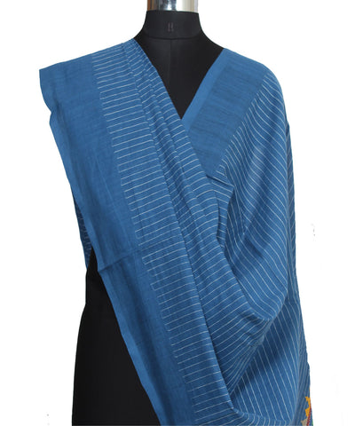 Blue Stripe Kanchi Cotton Embroidery Dupatta