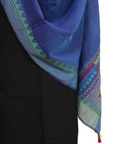 Blue Handloom Cotton Embroidery Dupatta