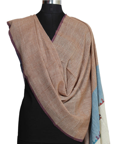 Brown Handloom Hand Craft Cotton Dupatta
