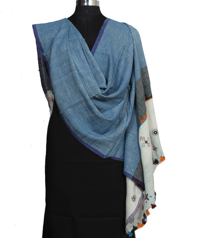 Blue Handloom Hand Embroidery Cotton Dupatta