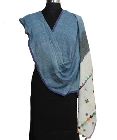 Handloom Hand Embroidery Blue Cotton Dupatta