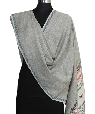 Grey Handloom Hand Embroidery Cotton Dupatta