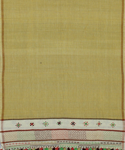 Light Mustard Handloom Craft Cotton Dupatta