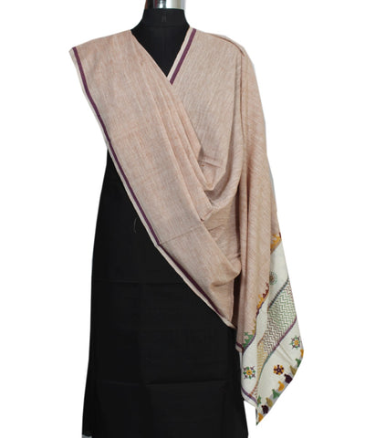 Mauve Handloom Hand Craft Cotton Dupatta