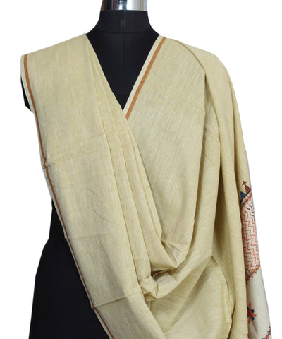 Light Cream Handloom Craft Cotton Dupatta