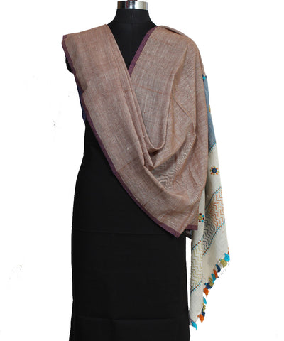 Handloom Brown Hand Craft Cotton Dupatta