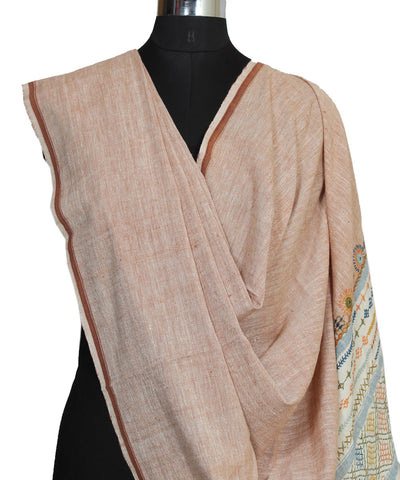 Light Brown Handloom Craft Cotton Dupatta