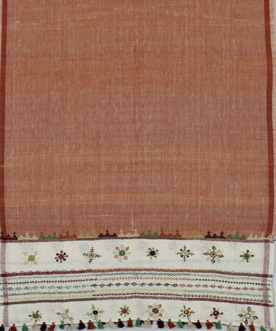 Brown Handloom Handspun Craft Cotton Dupatta