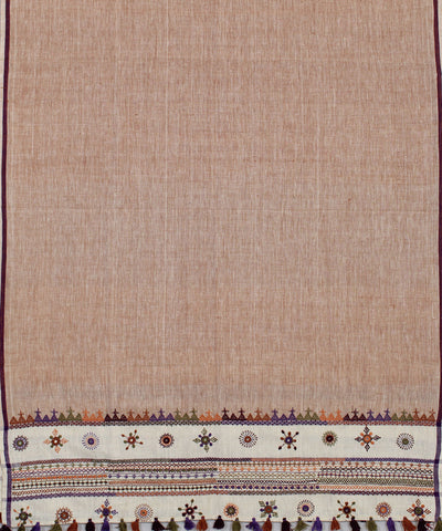 Handloom Brown Handspun Craft Cotton Dupatta