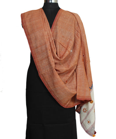 Bright Brown Handloom Handspun Cotton Dupatta