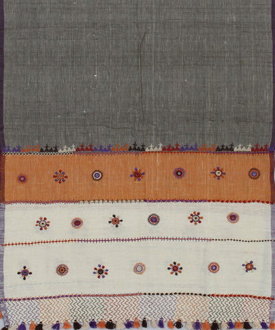 Grey Handloom Handspun Craft Cotton Dupatta
