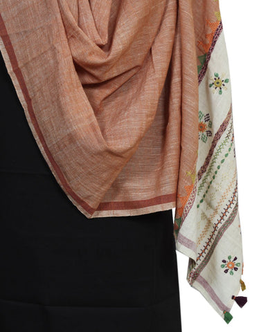 Hand Embroidery Handloom Spun Cotton Dupatta