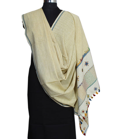 Off White Hand Embroidery Handloom Dupatta