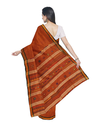 Orange Brown Hand Embroidery Cotton Saree
