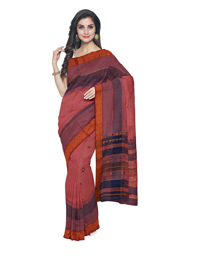 Peach Hand Embroidery Kanchi Cotton Saree