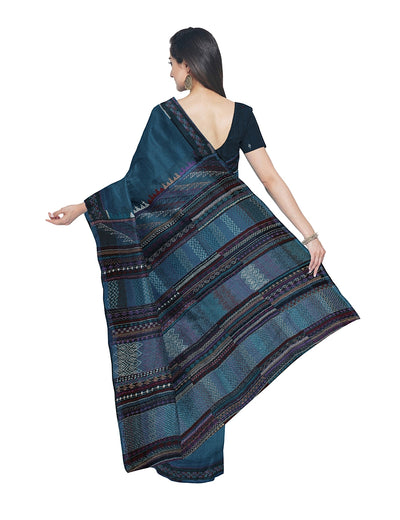 Dark Blue Hand Embroidery Kanchi Cotton Saree