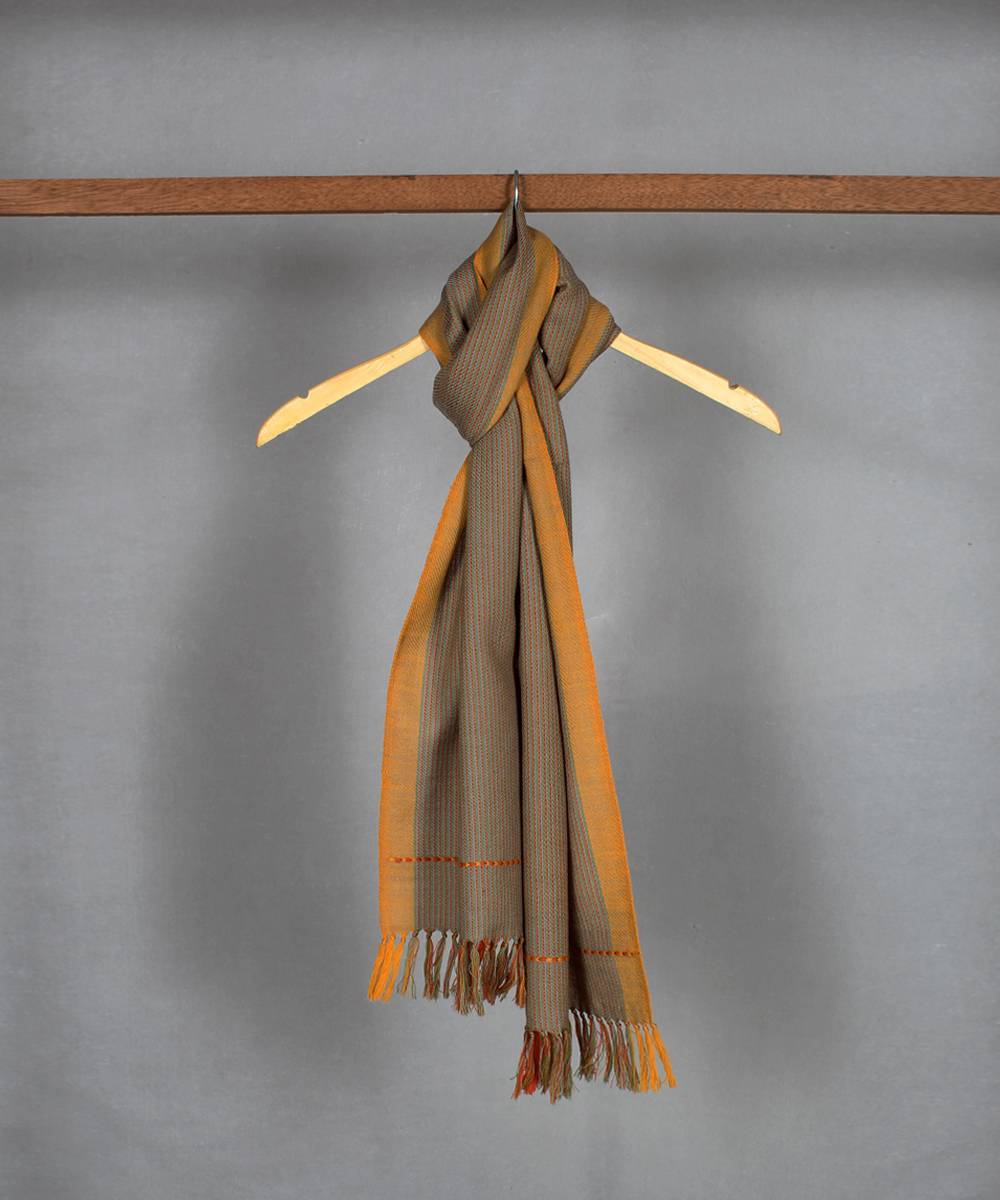 brown orange handloom woolen stole