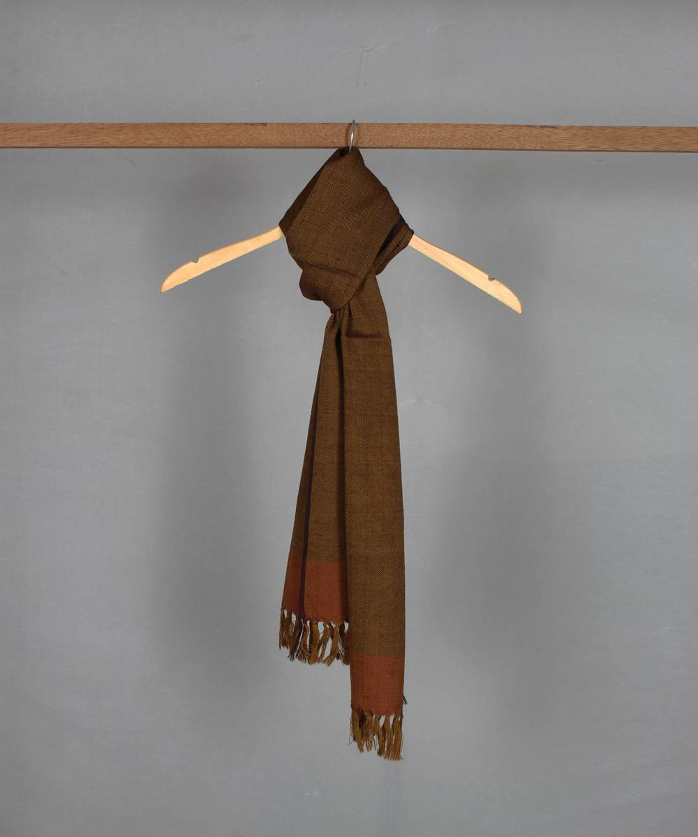 brown handwoven woolen stole