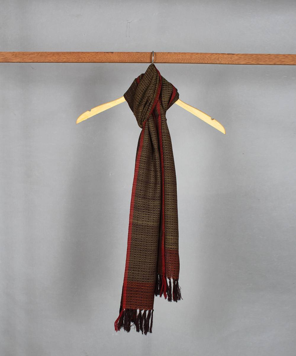 dark brown handwoven woolen stole