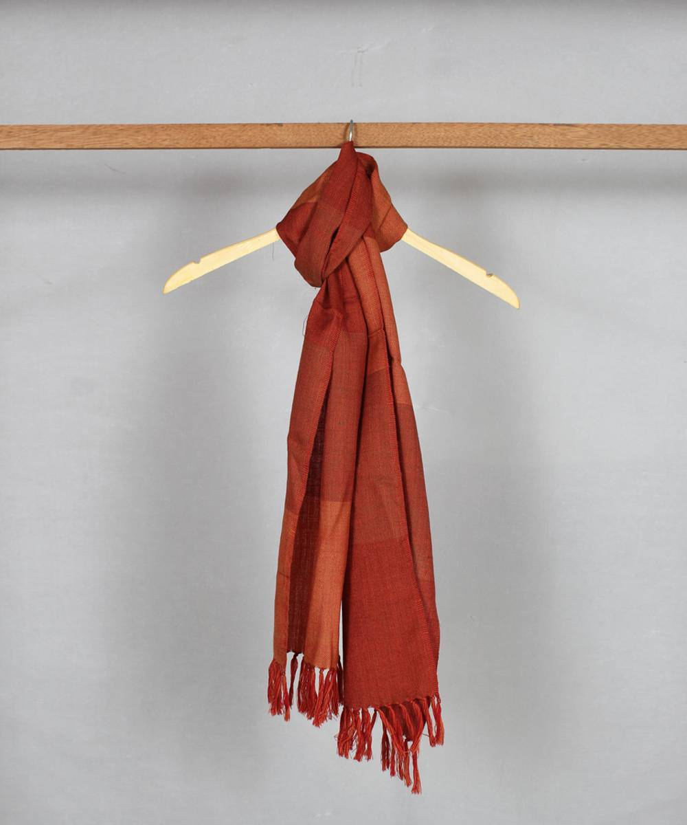 light orange brown handloom woolen stole