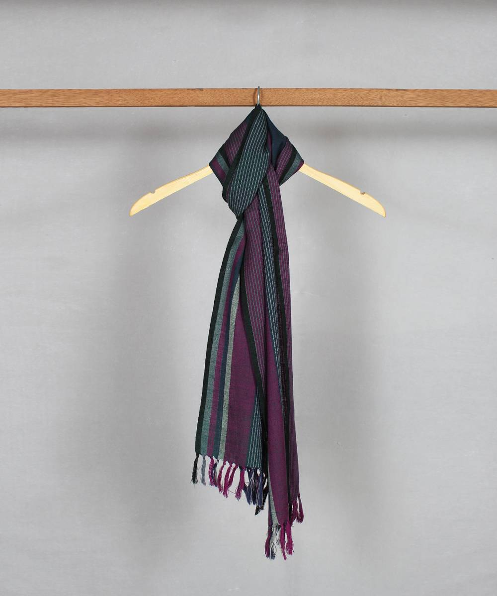 multicolor stripe handwoven woolen stole