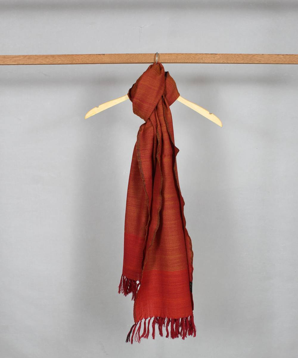 Orange brown handwoven woolen stole