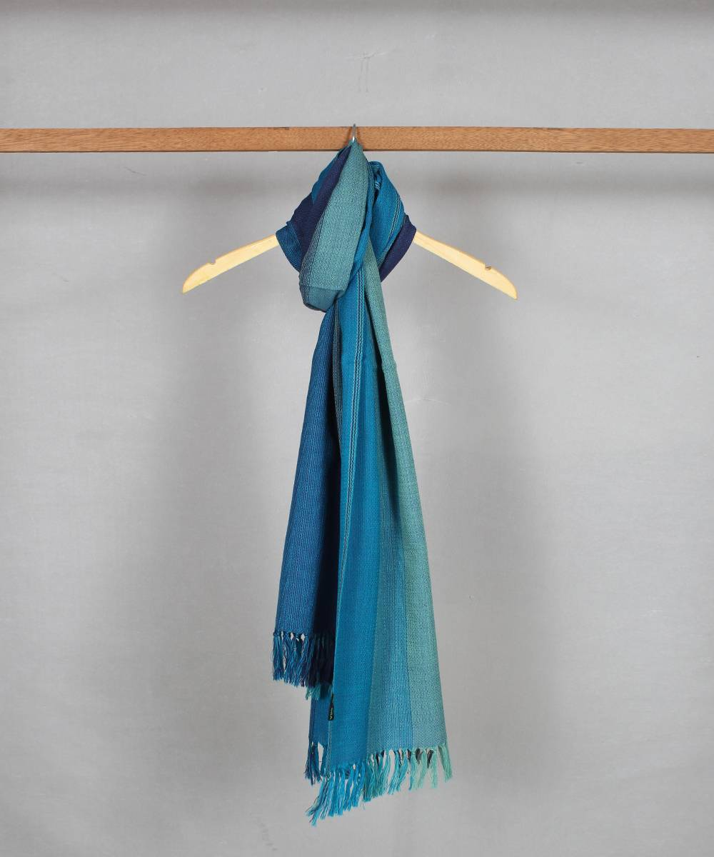 Sky blue striped handloom woolen stole