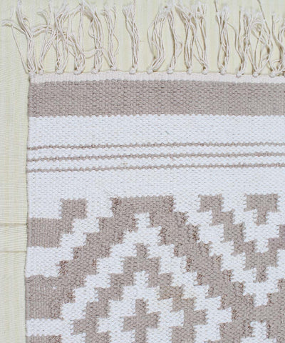 Brown and White Handwoven Cotton Dhurrie