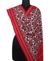 Grey Red Handloom Telia Rumal Cotton Dupatta