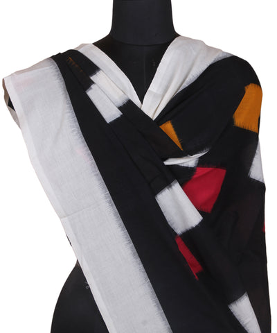 Black Handwoven Ikkat Cotton Dupatta
