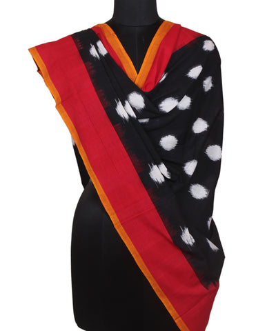 Handwoven Polka Dot Ikkat Cotton Dupatta