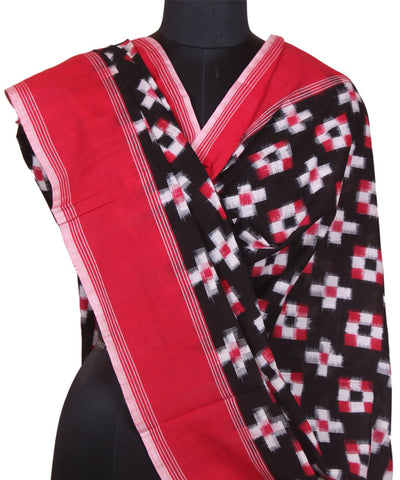 Handloom Ikkat Black Cotton Dupatta