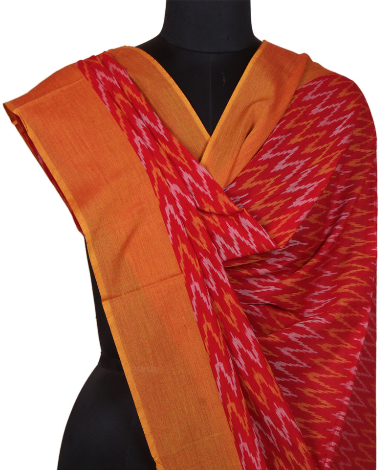 Red Mustard Handloom Ikat Cotton Dupatta
