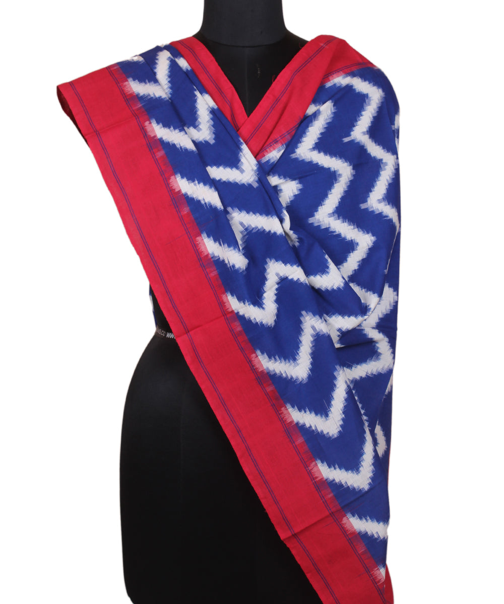 Handwoven Royal Blue Ikkat Cotton Dupatta
