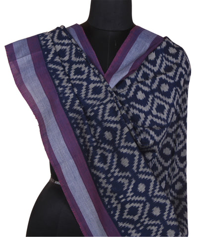 Purple Black Handwoven Ikkat Cotton Dupatta
